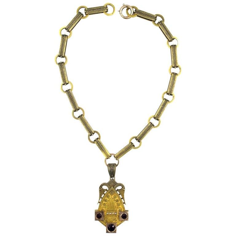 Victorian Antique Garnet Seed Pearl 14 Karat Yellow Gold Pendant Link Necklace