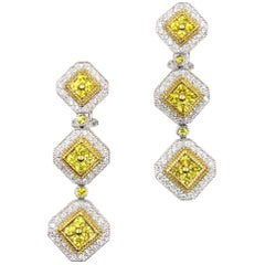 Diamond Yellow Sapphire Drop Dangle 18 Karat Gold Earrings