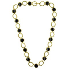 1960s Onyx 18 Karat Yellow Textured Gold Long Link Necklace Signed R. Stone
