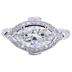 David Rosenberg 1.83 Carat Marquise GIA Platinum Halo Diamond Engagement Ring