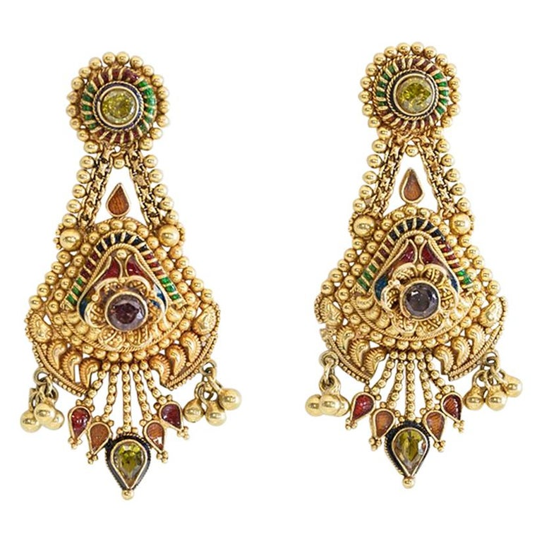 22 Karat Gold and Tourmaline Earrings, India