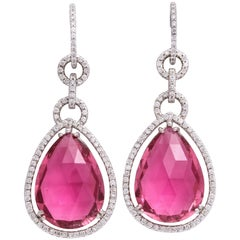White Gold, Pear Shaped Pink Tourmaline and Diamond Pendant Earrings