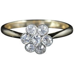 Antique Edwardian Diamond Cluster Ring Engagement, circa 1915