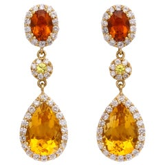 Yellow Gold, Pear Shape Citrine and Diamond Pendant Earrings