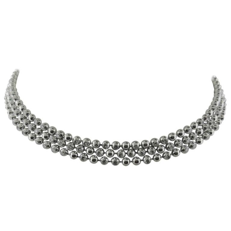 Cartier Perles De Diamantes 18 Karat White Gold Choker
