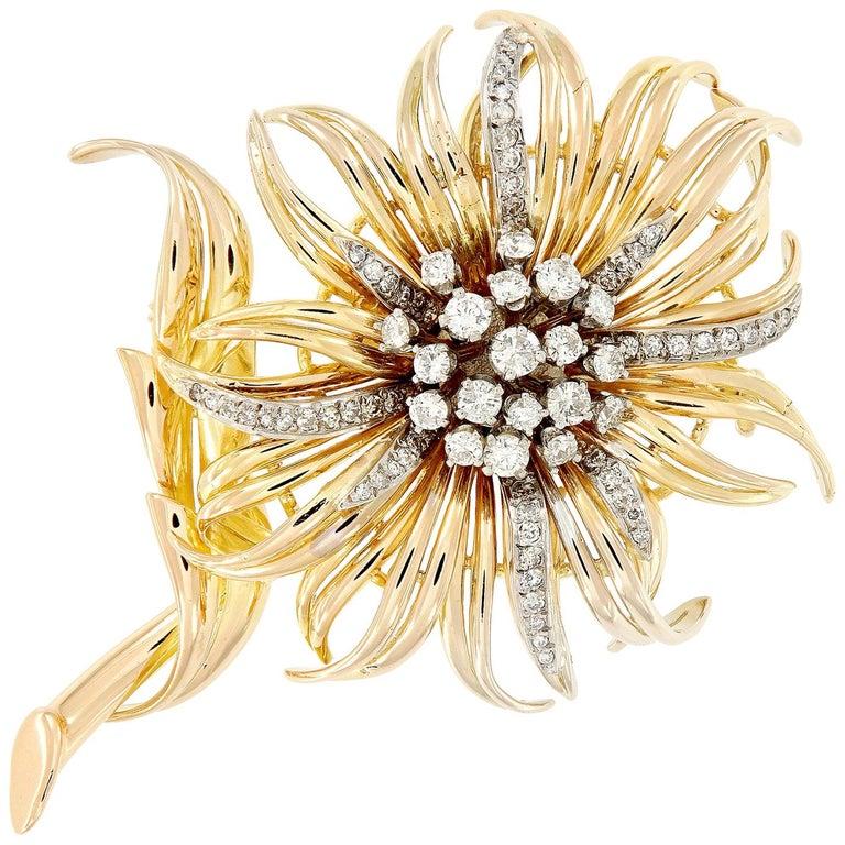 Vintage Diamond Gold Sunflower Brooch