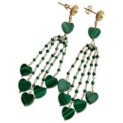 Malachite Hearts Duster Tassel Earrings, Monique Duster Earrings