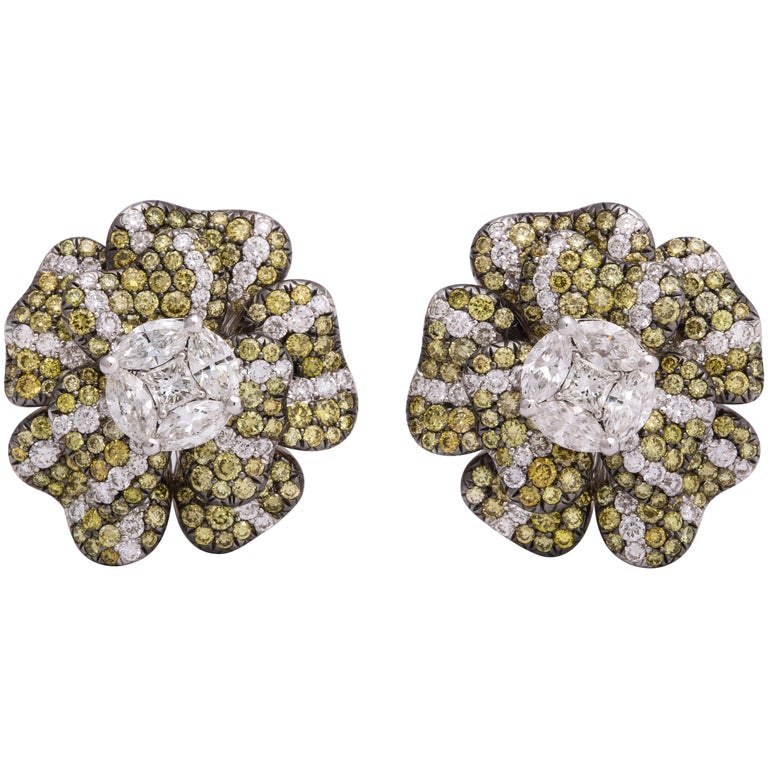 White Gold, Multi-Color Diamond Floral Earrings For Sale