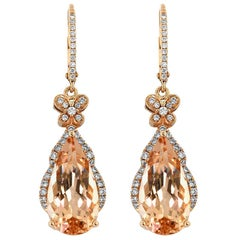 Morganite Diamond and Rose Gold Drop Earrings
