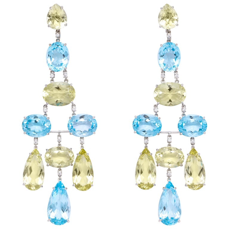 White Gold, Blue Topaz, Peridot and Diamond Chandelier Earrings