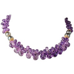 Amethyst Briolettes, Tahitian Pearls and 22 Karat Gold Necklace
