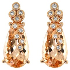 Morganite Diamond and Rose Gold Statement Earrings