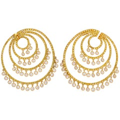 Yellow Gold, Yellow and Diamond Earrings