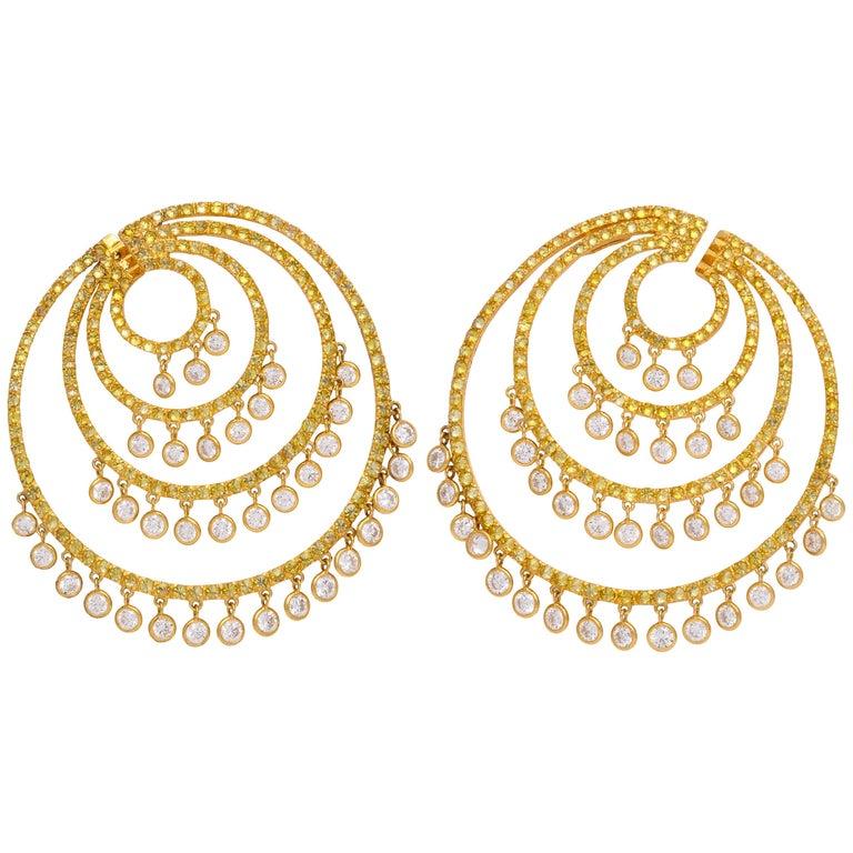 Yellow Gold, Yellow and Diamond Earrings