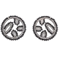 White Gold, Black Diamond and Diamond C-Scroll Earrings