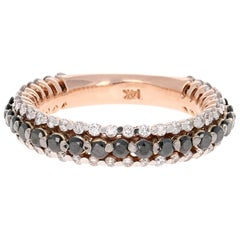 1.27 Carat Black and White Diamond Band 14 Karat Rose Gold