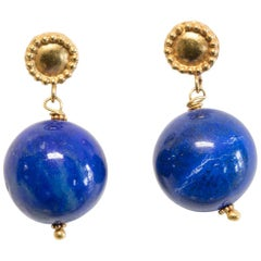 22 Karat Gold and Lapis Lazuli Drop Earrings