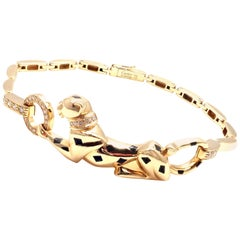Cartier Panther Panthere Diamond Tsavorite Lacquer Yellow Gold Link Bracelet