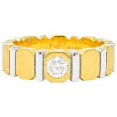 Contemporary Diamond 18 Karat Gold and Platinum Band Ring