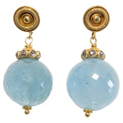 22 Karat Gold, Aquamarine and Diamond Drop Earrings