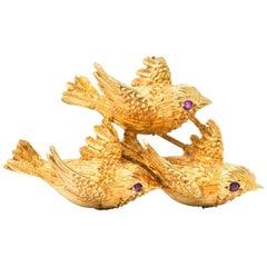 Retro Tiffany & Co. Ruby and 18 Karat Gold Three-Bird Brooch