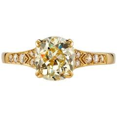 1.53 Carat GIA Certified Vintage Cushion Cut Diamond Engagement Ring