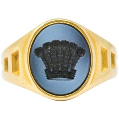 Hardstone and 18 Karat Gold Intaglio Crown Signet Ring