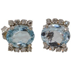 Oval 5.00 Carat Aquamarine 14 Karat White Gold Diamond Stud Earrings
