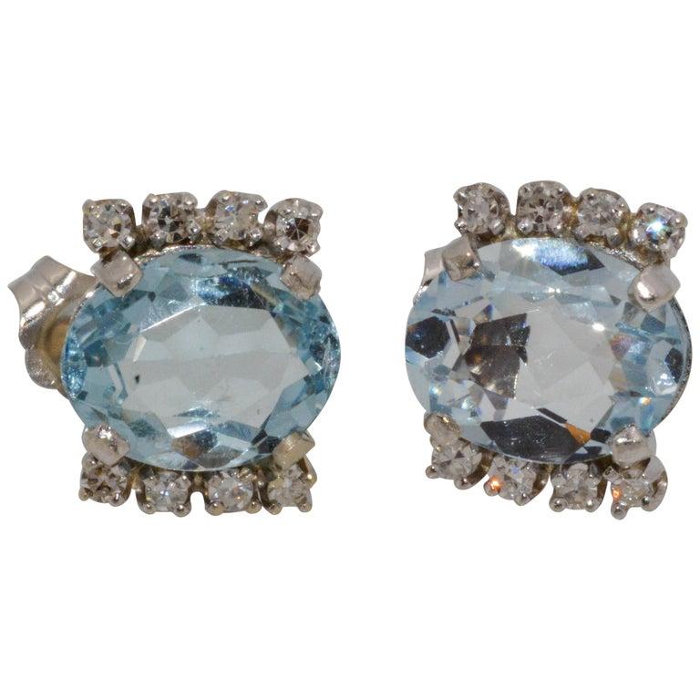 Oval 5.00 Carat Aquamarine 14 Karat White Gold Diamond Stud Earrings