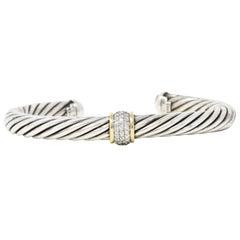 David Yurman 0.30 Carat 18 Karat Gold Diamond Sterling Silver Cable Bangle