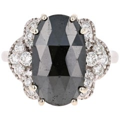 4.72 Carat Black Diamond Cocktail 14 Karat White Gold Ring