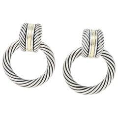 David Yurman 14 Karat Gold Sterling Silver Door Knocker Earrings