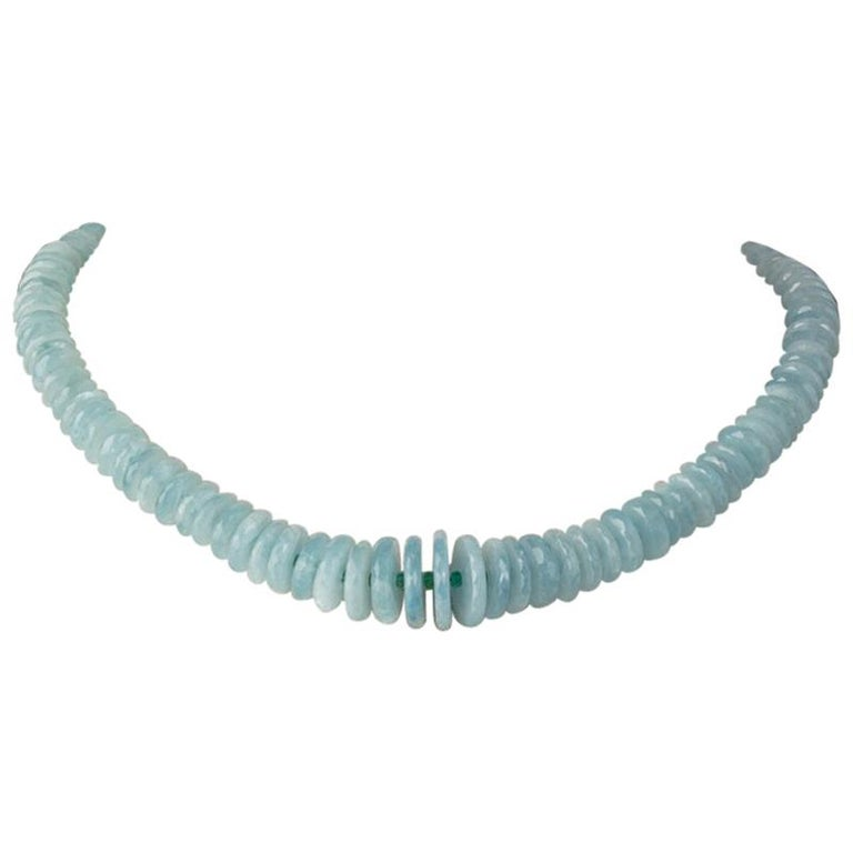 Faceted Aquamarine and Emerald Necklace by Deborah Lockhart Phillips