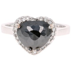 2.34 Carat Black Diamond 14 Karat White Gold Ring