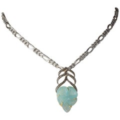 Carved Chalcedony and Diamond Pendant on Sterling and Diamond Chain