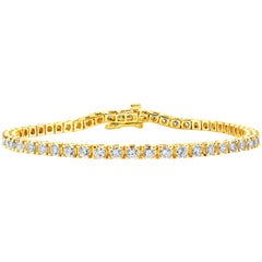 2.14 Carat Round Diamond Tennis Bracelet in 14 Karat Yellow Gold