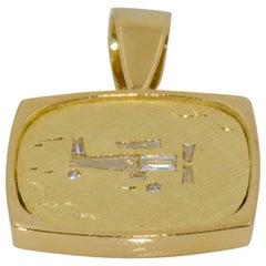 18 Karat Yellow Gold Diamond Bi-Plane Motif Diamond Pendant