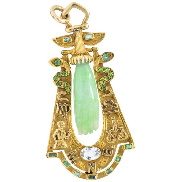 Art Nouveau Jade Aquamarine Emerald Demantoid Garnet 18 Karat Gold Pendant