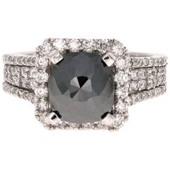4.83 Carat Cushion Cut Black Diamond White Gold Bridal Ring 14 Karat White Gold