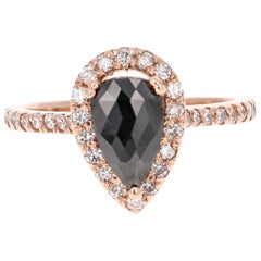 1.51 Carat Pear Cut Black Diamond Rose Gold Engagement Ring