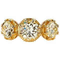 18 Karat Yellow Gold Old European Cut Diamond Three-Stone Ring