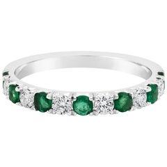 Alternating Emerald and Diamond Wedding Band