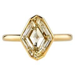 Rare 3.00 Carat GIA Certified Lozenge Cut Diamond Engagement Ring