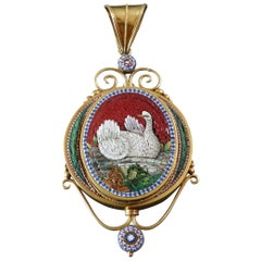 1870s Antique Grand Tour Italian Micromosaic Swan Gold Locket Pendant
