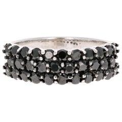 1.40 Carat Black Diamond Band 14 Karat White Gold