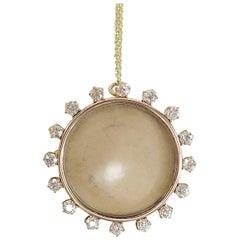 Antique Crystal Frame Locket Pin Pendant with 1.12 Carat in Diamonds 14 Karat