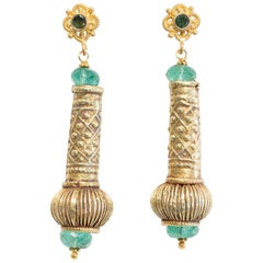 22 Karat Gold and Emerald Earrings