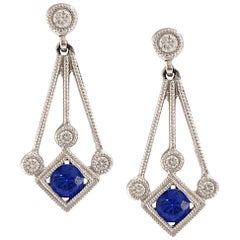 Solid 18 Karat White Gold Sapphire and Diamond Dangle Earrings 3.3g