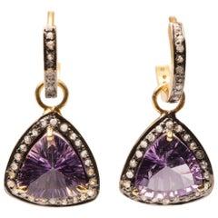 Amethyst and Diamond Drop Hoop Earrings