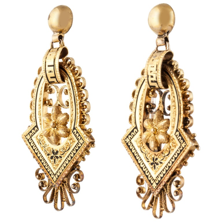 14 Karat Victorian Earrings For Sale